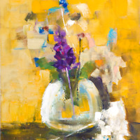 Demenko Natalia FLOWERS IN A VASE Impressionism Stylish Modern Art Oil painting
