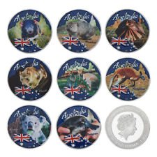 WR Australia Endangered Animal Silver Plated Coin Set of 8PCS Tuvalu Queen $1