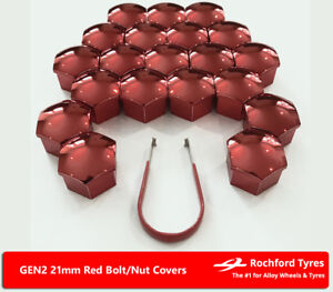 Red Wheel Bolt Nut Covers GEN2 21mm For Fiat Ducato Maxi [Mk3] 07-16