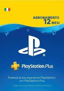 Sony PSN PS Plus Card 12 Mesi ABBONAMENTO PLAYSTATION NETWORK Codice Digitale
