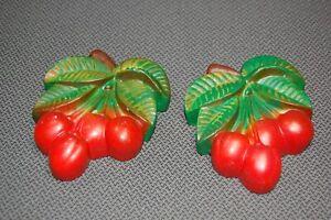 Vintage Chalk Ware Cherries 2PC-Pair Kitchen Wall Plaques Decor