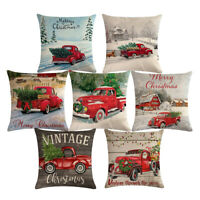 Xmas Decorations Cushion Cover Christmas Tree Red Car Linen Throw Pillow Case