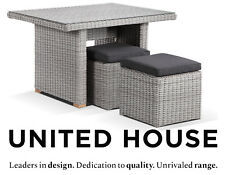 New Grey Outdoor Wicker Dining Table Ottomans Cane Rattan Furniture Setting Set
