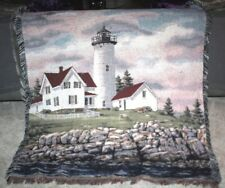 Large Lighthouse Woven Throw Blanket Wall Tapestry Afghan 60 x 53