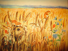 The Family in the Corn Field Large watercolor print *SIGNED* 21 x 17 BEAUTIFUL!