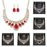 Women's Wedding Jewelry Set Rhinestone Diamante Gold Plating Necklace + Earrings