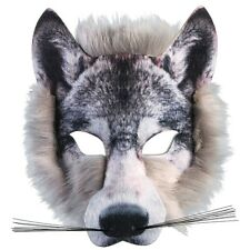 Wolf Face Mask Realistic Fur - Fancy Dress Animal Adults Tiger Lion Fox Nature