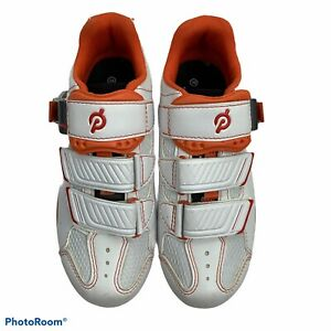 Peloton White Orange Cycling Bicycling Shoes 3 Bolt Buckle Women's Size 36 US 5