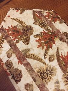 Handcrafted-Quilted Table Runner - Autumn Leaves, Pinecones, Feather,Acorn 2021