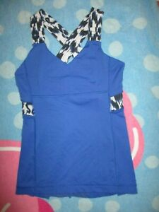 LULULEMON NAVY BLUE WITH WIDE CRISS-CROSS STRAPS ATHLETIC TOP SIZE 4