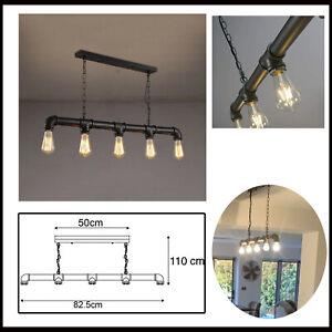 Industrial Vintage 5 Head Light Ceiling Lights Metal Pipe Retro Pendant Lamps