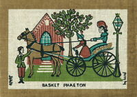 ROBERT DARR WERT Vintage 1950s-60s COUNTRY PRINT Serigraph/Linen BASKET PHAETON