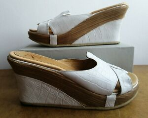 J SHOES White Leather Wedge Slip On Sandals Summer Casual UK Size 6