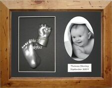 New and Unique Gift 3D Baby Casting Kit Set Cast Hand Foot Rustic Pine Box Frame