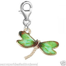 Clip on Dragonfly Charm Pendant for Bracelets or Necklaces 3708