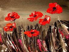 Poppies ART CANVAS IMPRESSIONIST IMPASTO ARTIST  Original Oil Painting  NQWD