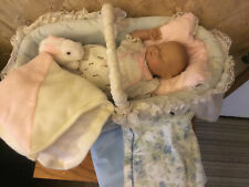 """Vintage Baby Doll Bed Cradle Crib bassinet With Doll And Blankets 20"""" X  10"""""""