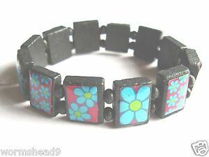 Daisy flower design segmented wood bead stretch band bracelet – festival