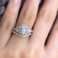925 Silver Women Zircon Diamond Princess Ring Set Wedding Engagement Jewelry