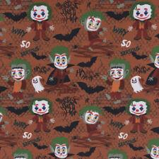 Baumwollstoff GOTS Bio Popeline Halloween Monster braun grün orange 1,50m Breite