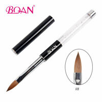 1PC Pure Kolinsky Sable Acrylic Nail Art Brush 8# Crystal Rhinestone Handle Tool