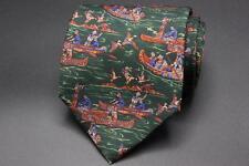 SALVATORE FERRAGAMO Silk Tie. Green w Orange & Blue Old World Explorer  in Canoe