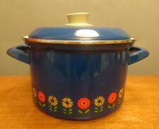 Vtg Retro Siegwerk Germany Casserole Oven Dish Stock Pot Enamel Floral Blue