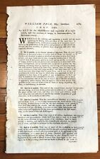 RARE 1784 MARYLAND Law 1ST STREET LAMPS ERECTED in BALTIMORE & Night Watchman
