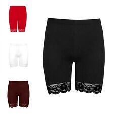 Womens Lace Trim Shorts Ladies Hot Pants Biker Tights Gym Active Cycling Shorts