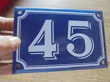 Ancienne Plaque en Tôle Emaillée Numéro d'Adresse de Rue N°45 sur Porte Pillier