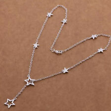 "Gorgeous 925 Silver Pltd Star Lariat Necklace Chain - Length 18"" - New - UK - 14"