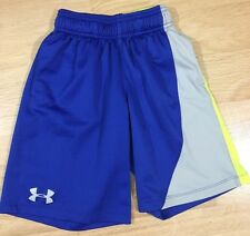 Under Armour Shorts Youth Small Loose Wit Pockets Blue Gray And Neon Yellow