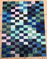 """Batik Quilt Top  ~ Blue, Purple, and Green ~ Lap ~ (#29) ~ 46"""" X 60"""""""