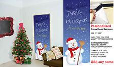 PERSONALIZZATO GRANDE Pupazzo di neve Natale porta in tessuto Banner