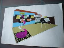 DESSIN ARCHITECTURE D'INTERIEUR VINTAGE 1960  GOUACHE STAND COUVRANEUF