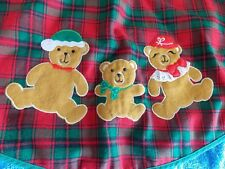 "Christmas Bear Family On Plaid Tree Skirt 34"" Round"