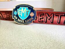 EMT Cowhide LEATHER BELT & EPOXY EMT Epoxy Enamel  Belt Buckle