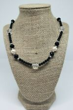 Avon Women's Beaded Fashion Necklace Multi Shaped Faux Pearls Black Gold Tone