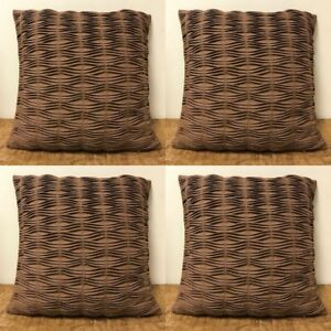 """4 x Poly Cotton Brown Cushion Covers Pleated Zig Zag Design 16"""" x 16"""" Washable"""