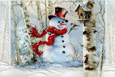 16 Embossed Boxed Christmas Cards Snowman Bird House Birchwood Snowman