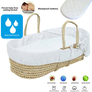 Baby Moses Basket Mattress Protector Waterproof Fitted Quilted Sheet