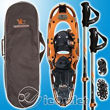 NEW YUKON CHARLIE'S 8 x 25 825 SNOWSHOE KIT w/ HIKING POLES & CARRY BAG - ORANGE