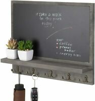Wall-Mounted Gray Wood Chalkboard Wall Decor with Display Ledge and 10 Key Hooks