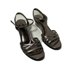 Etienne Aigner Womens Open Toe Wedge Heels Shoes Silver Strappy Leather 8.5M