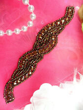 "XR129 Brown Bronze Rhinestone Beaded Applique 4.75"" (XR129-bz)"