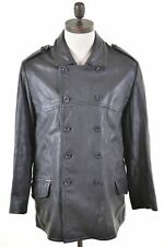 DKNY JEANS Mens Double Breasted Jacket Size 36 Small Black Leather  JU50
