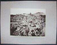 1875ca VESUVIO EREMO OSSERVATORIO LAVA foto albumina originale 20x25cm Napoli