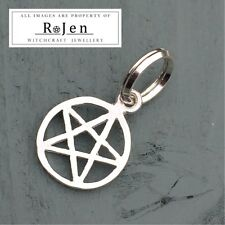 Solid 925 Sterling Silver Pentagram Jump Ring Charm Wicca Pagan Chakra Witch
