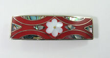 "Alpaca hair clip / barette abalone shell inlay flower desiign red 3 3/8"" long"