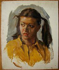 Russian Ukrainian Soviet Oil Painting female portrait Girl teener realism  1960s